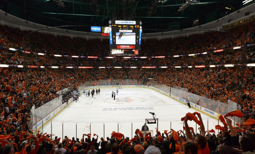 save off a0da3 32291 Apr 16, 2014  Anaheim, CA, USA  General view of Anaheim Ducks fans waving  rally towels against the Dallas Stars in the first round of the 2014  Stanley Cup ...
