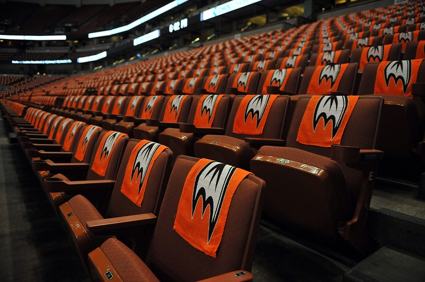 the best attitude 8df28 94f54 April 30, 2013  Anaheim, CA, USA  General view of fan towels on seats at  Honda Center before the Anaheim Ducks play against the Detroit Red Wings in  game ...